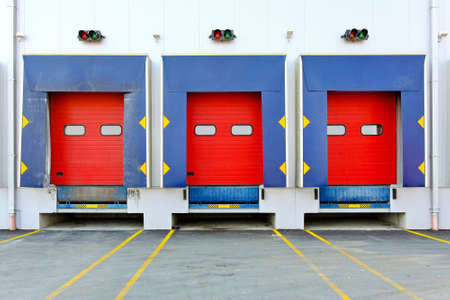 Loading dock cargo doors at big warehouse Stock Photo - 7604415