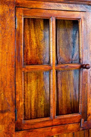 Close-up shot van houten kast deur  Stockfoto