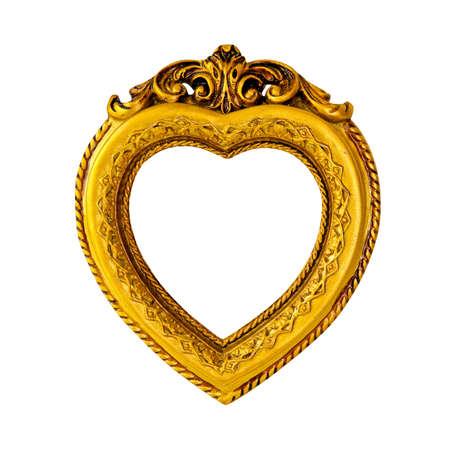 Cornice oro a forma di cuore isolato