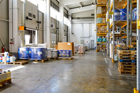 Big storehouse interior with merchandise for distribution Stock Photo - 8602471