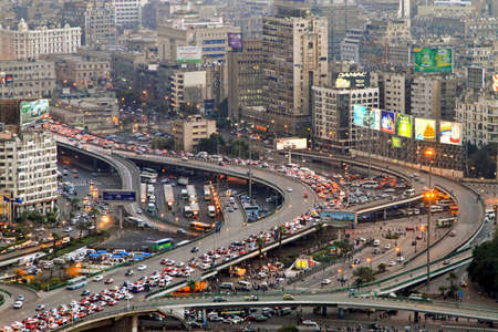 CAIRO, EGYPT - FEBRUAR 25: Cairo traffic jam on FEBRUAR 25, 2010. Transportation collapse at main intersection in Cairo, Egypt.