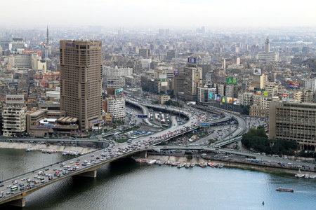 CAIRO, EGYPT - FEBRUAR 25: Ramses Hilton hotel in Cairo on FEBRUAR 25, 2010. Ramses Hilton hotel at Nile river in Cairo, Egypt.
