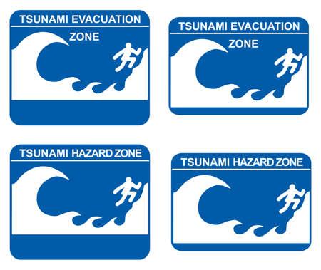 Tsunami warning signs showing evacuation and hazard zones Stock Vector - 9095436
