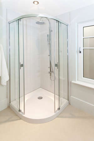Open Glass Door At Shower In Corner Stock Photo, Picture And Royalty ...