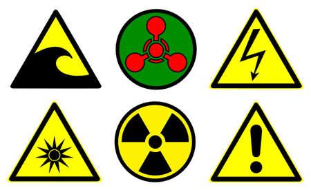 Set of official international hazard warning signs