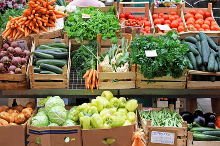 Warzywa Å›wieże i ekologicznej na rynku rolników  Zdjęcie Seryjne