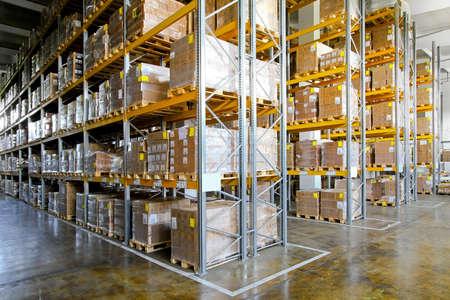 Shelves and racks in distribution storehouse interior