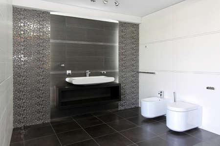 Contemporary Bathroom Interior In Black And White Stock Photo ...