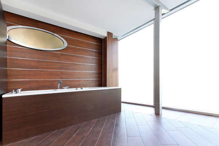 Classic style bathroom interior with wooden bath photo