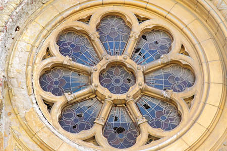Flower window with stained glass at Synagogue in Timisoara photo