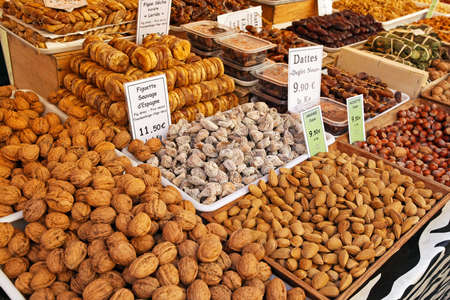 Nuts and dried fruits at market stall