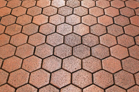 hexagonal pattern: Old hexagon pattern terracotta tiles background texture