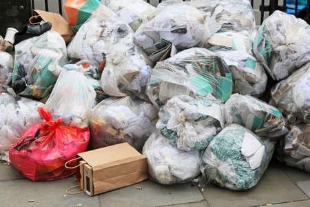 Big pile of waste due municipal union worker strike