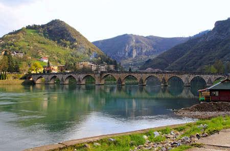 visegrad: Old Visegrad bridge landmark at Drina river
