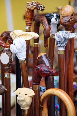 Unique hand carved wooden walking sticks and canes Stock Photo - 14734133