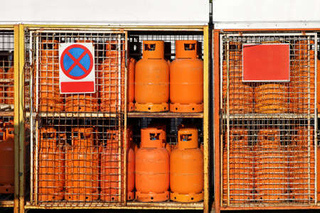 LPG gas cylinders at petrol station warehouse photo