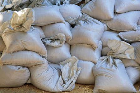 sandbag: Big pile of sand bags for floods emergency