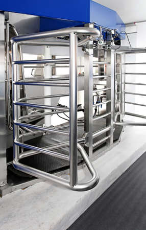Automated milking station dairy equipment at modern farm photo