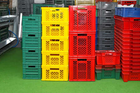 crates: Plastic crates and cages for transportation at farm