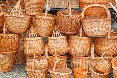 wickerwork: Big bunch of handcrafted woven wicker baskets Stock Photo