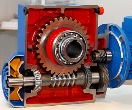 ball bearing: Gears and ball bearing in transmission open section