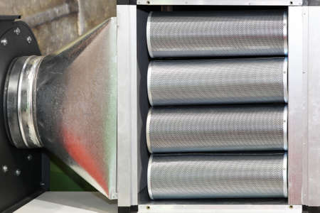 air duct: Industrial filter for ventilation and air conditioner Stock Photo