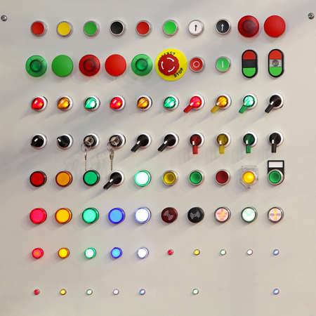 control panel lights: Electric switch box with lights and buttons Stock Photo