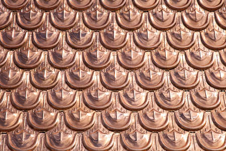 shingle: Expencive and luxury cooper roofing pattern background