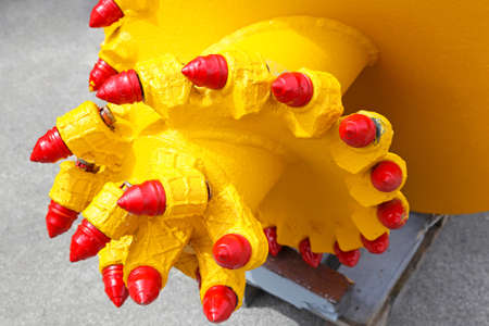 Drilling head with industrial diamonds for mining excavations photo