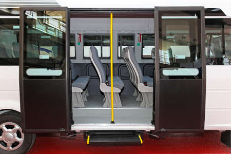 Regional mini bus with open double doors photo