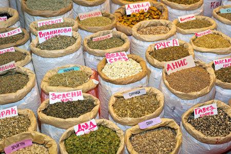 Bags of various herbal medicine and tea