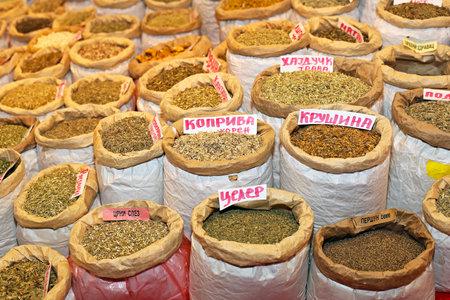 Sacks of various herbal medicine and tea