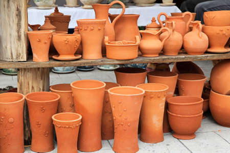craft product: Handmade crafts of terracotta pots and vases Stock Photo