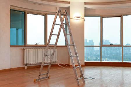 big window: Open A ladder in modern empty living room