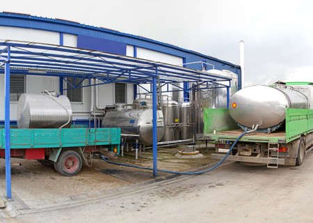 Unloading raw milk from trucks in dairy factory photo
