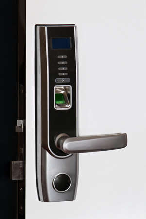 handle: Biometric door security access with fingerprint scanner