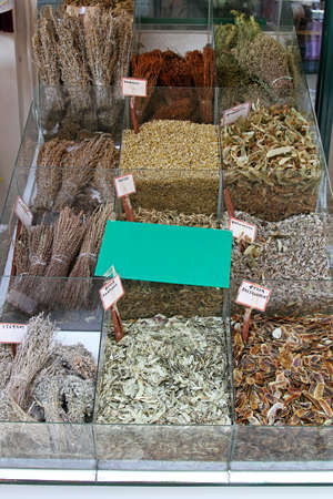 Dried herbs and spices at market stall Stock Photo - 15141088