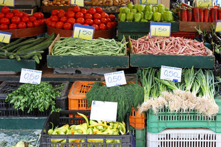 Bunch of vegetables in crates at farmers market Stock Photo - 15141122