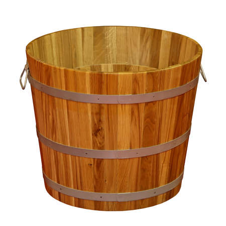 Retro wooden bucket isolated on white Stock Photo - 15390869