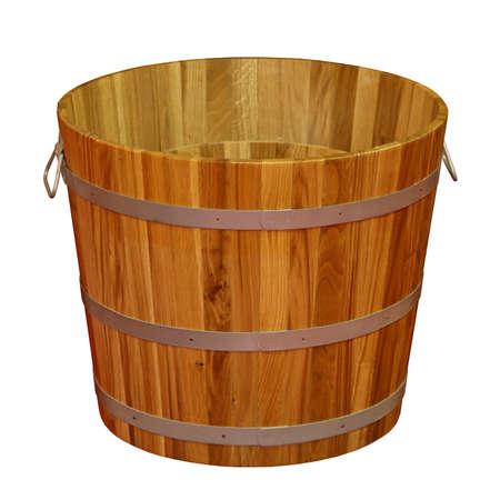 Retro wooden bucket isolated on white Stock Photo - 15390869