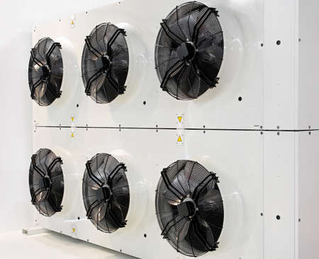 Six industrial fans for big air conditioner Stock Photo