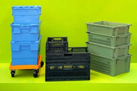 Plastic boxes and crates for logistic transportation Stock Photo - 15548843