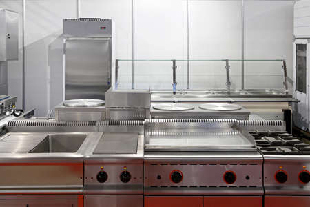 clean kitchen: Interior of restaurant kitchen with stainless steel equipment