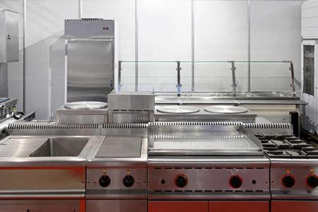 stainless steel kitchen: Interior of restaurant kitchen with stainless steel equipment