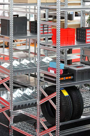 Storage room with new metal shelving system Stock Photo - 15548855