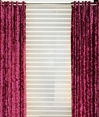 Detail of decorative red velvet curtains in home interior Stock Photo - 15713925