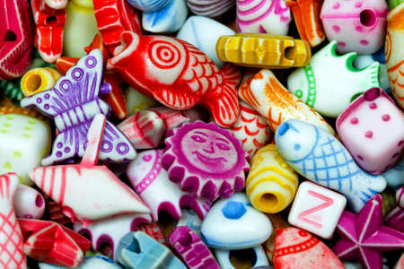 bijoux: Multi colour plastic beads elements variety assortment