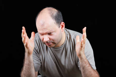 worrying: Devastated man worrying about hair loss problem