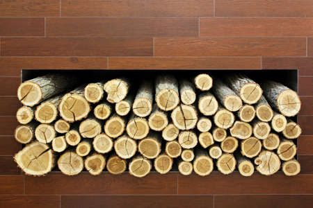 Big stack of firewood logs prepared for winter Stock Photo - 16126949
