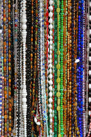 Bunch of long necklaces with colorful beads Stock Photo - 16127058